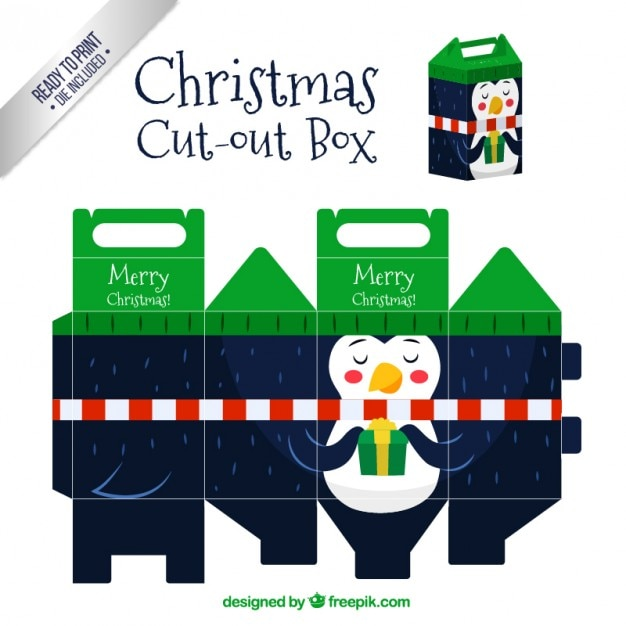 Christmas Penguin Cut Out Box Free Vector