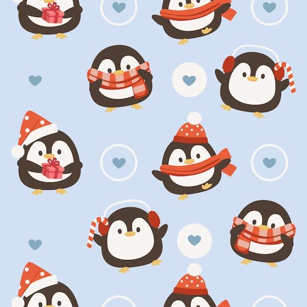 クリスマスペンギンのシームレスなパターン Premiumベクター