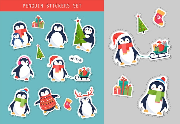 Christmas penguin stickers set Premium Vector