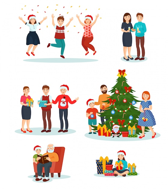 premium vector christmas people in santa hats celebrating merry xmas family decorate new year tree together illustration set of smiling man woman kids characters with gifts isolated on white https www freepik com profile preagreement getstarted 6121453