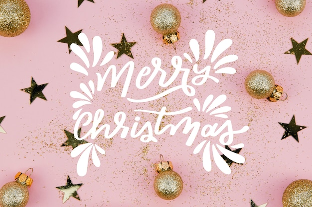 Christmas photo with lettering and globes Free Vector