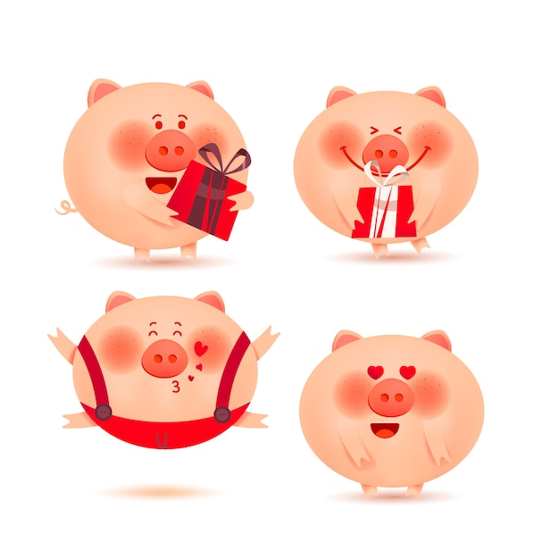 Christmas Pigs.Christmas Pigs Set Of Cheerful And Cute Piglets Vector