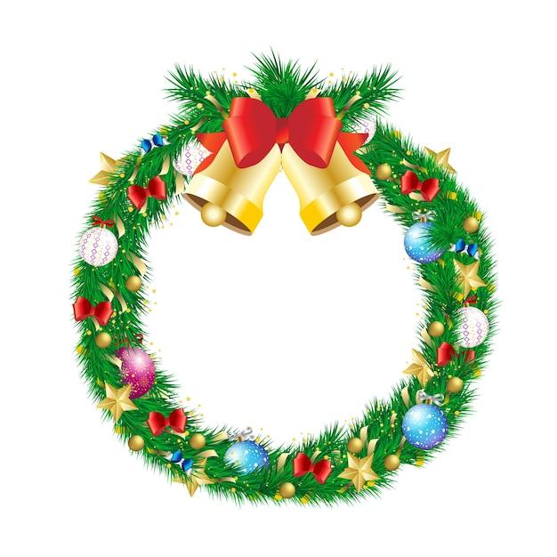 ジングルベルと装飾が施されたクリスマスパインブランチリース。ゴールドスター、ボール安物の宝石、弓と見掛け倒しの自然主義的な外観の冬の休日のビーズ状の物 Premiumベクター