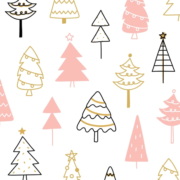 Christmas pine tree composition in drawing doodle style Free Vector