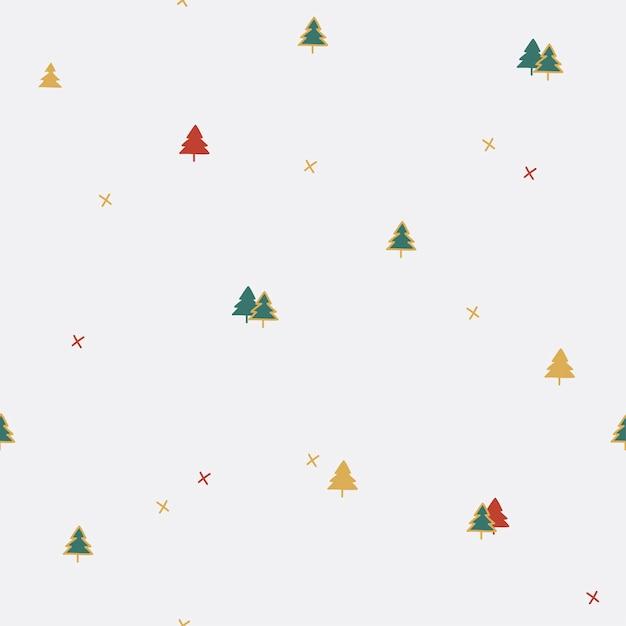クリスマスの松の木のシームレスなパターン 無料ベクター