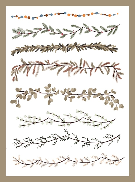 Christmas plants decor elements set sticker for bullet journal swirls design Premium Vector