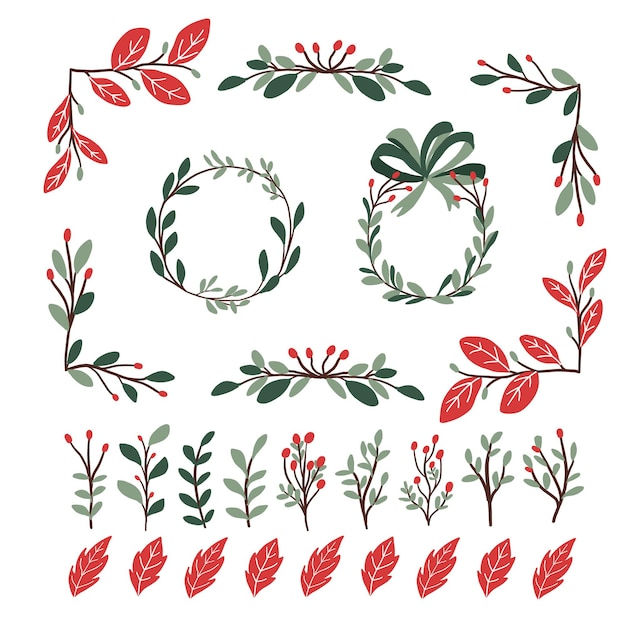 Christmas plants decor elements set sticker for bullet journal swirls Premium Vector