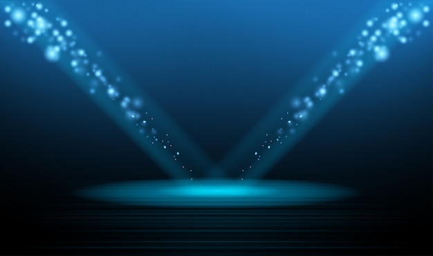 Christmas podium stage star and new year night background Premium Vector