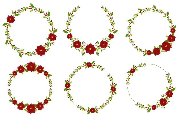 Christmas poinsettia flower minimal wreath collection Premium Vector
