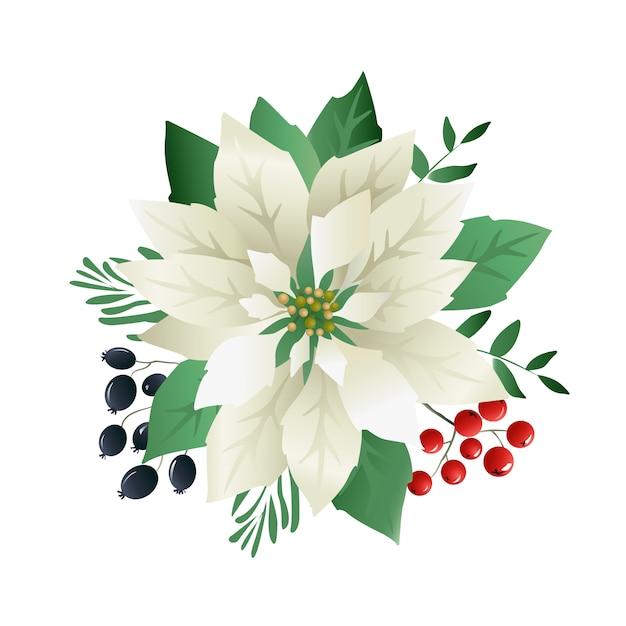 Christmas poinsettia flowers Premium Vector