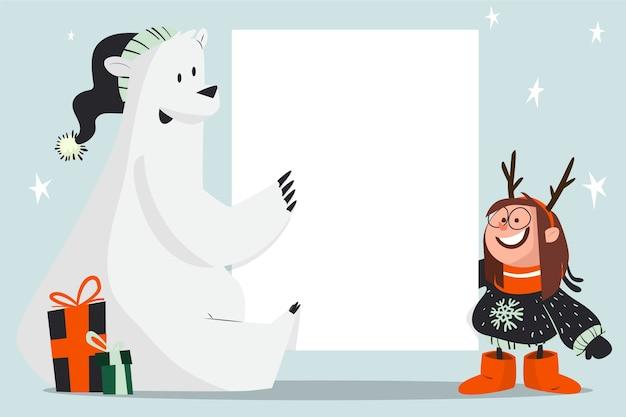 白紙の横断幕テンプレートを保持しているクリスマスシロクマ 無料ベクター