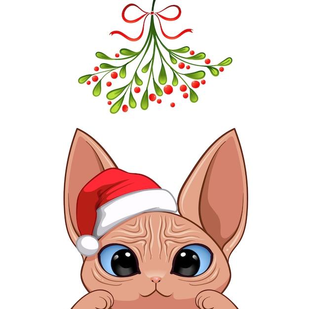 Christmas portrait of cute cat character Premium Vector