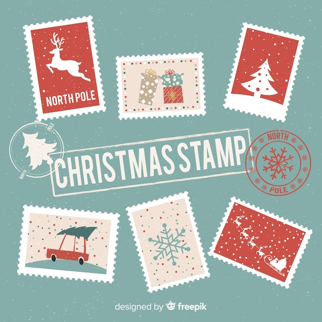 Christmas post stamp collection Free Vector