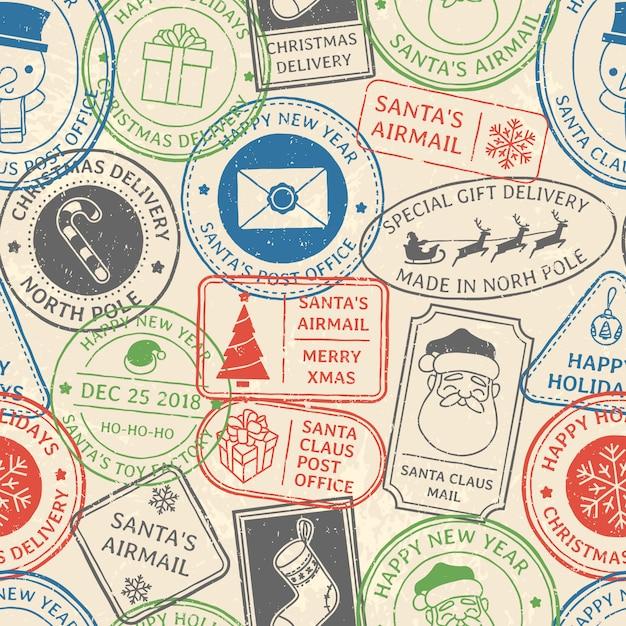 Christmas postal pattern Premium Vector