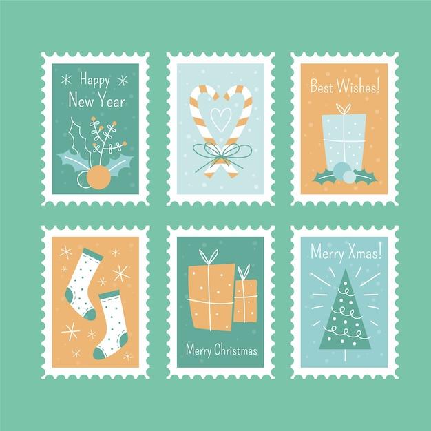 Рождественские почтовые марки набор изолированных рисованной Бесплатные векторы