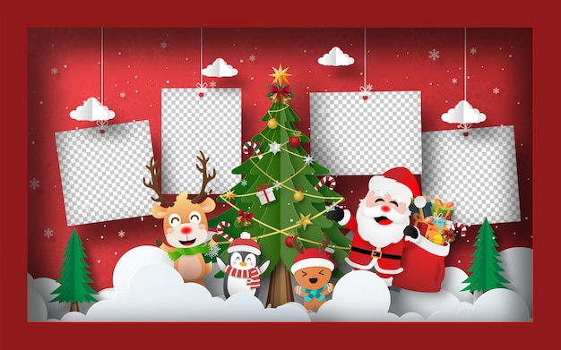 Christmas postcard banner background blank photo with christmas tree in frame Premium Vector