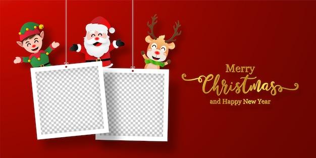Рождественская открытка баннер санта-клауса и друзей с фоторамкой Premium векторы