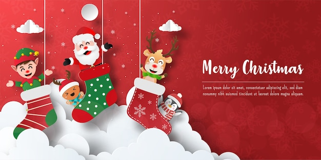Christmas postcard banner of santa claus and friends in christmas sock Premium Vector