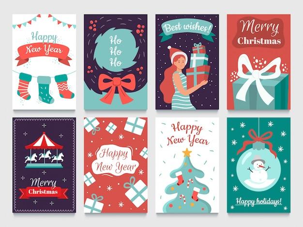 クリスマスのポストカード。クリスマスツリーの花輪、ハッピーニューイヤーポストカード、12月の冬のホリデーカードバンドル Premiumベクター