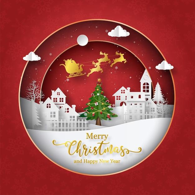 Рождественская открытка деда мороза с санями на небе в деревне Premium векторы