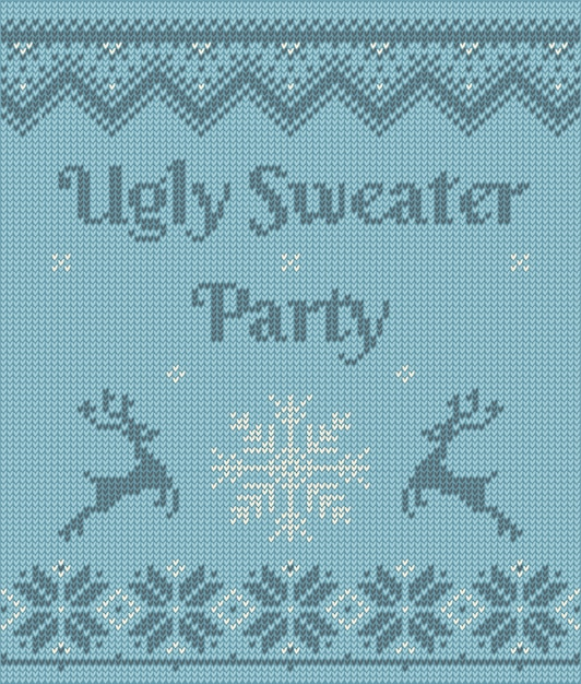 Christmas postcard with invitation on ugly sweater party Premium Vector