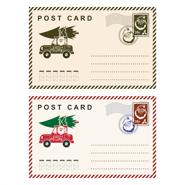 Christmas postcard with stamp  template holiday letter isolated on white . Premium Vector