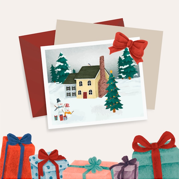 Christmas postcards and presents Free Vector