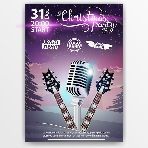 Karaoke Christmas Party.Christmas Poster Of Christmas Party With Winter Landscape