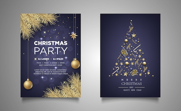 Christmas poster invitation party background with realistic decoration Premium Vector
