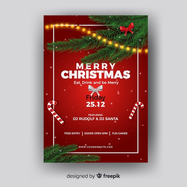 Christmas poster pine leaves corners template Free Vector