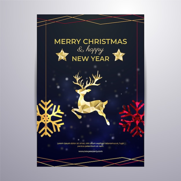Christmas poster template in polygonal style Free Vector