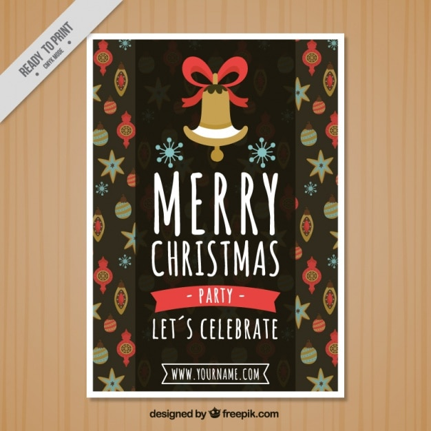 Christmas Poster Template With Bell And Baubles Vector  Free Download