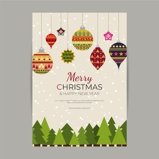 Christmas poster template with colorful geometric shapes Free Vector