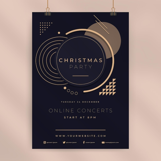 Рождественский постер шаблон Бесплатные векторы
