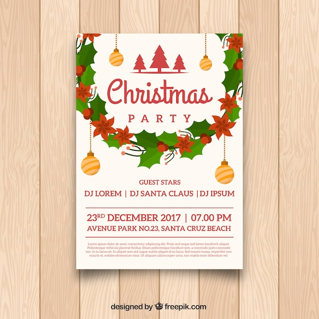 Christmas poster with classic decoration
