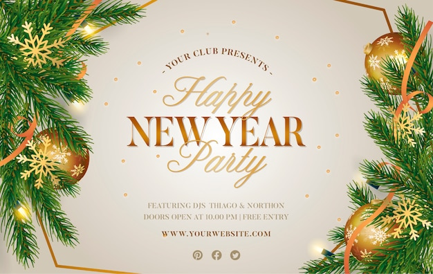 Christmas poster with realistic decoration Free Vector