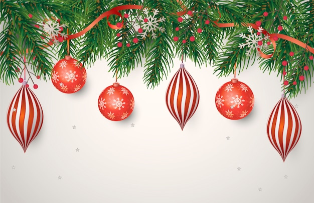 Christmas poster with red decoration Free Vector