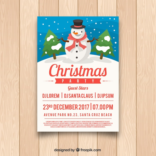 Christmas poster with snowman