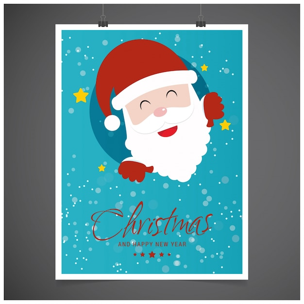 Christmas postern including typography and santa in blue color on grey background Premium Vector