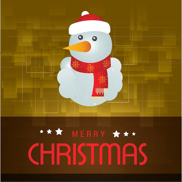 Christmas postern including typography and snowman on yellow abstract background Premium Vector