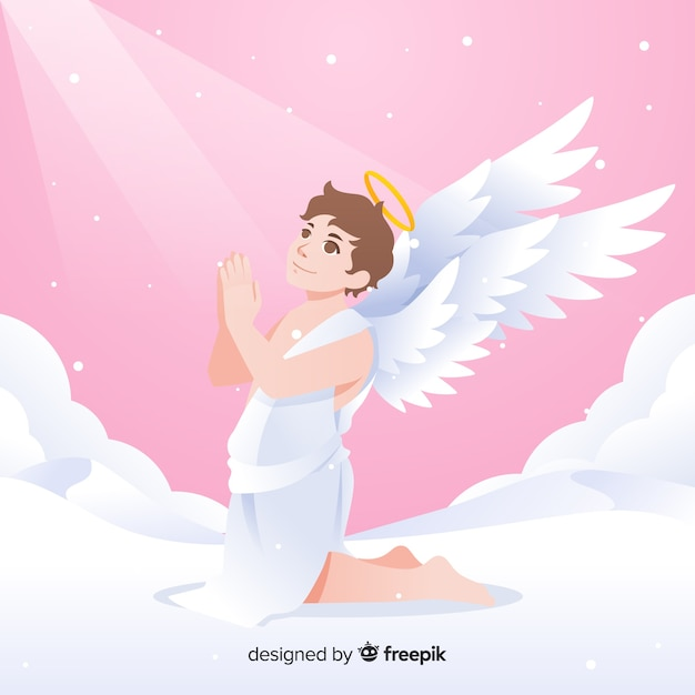 Christmas praying angel background Free Vector