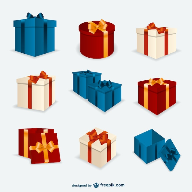 Christmas Present Boxes Pack Vector Free Download