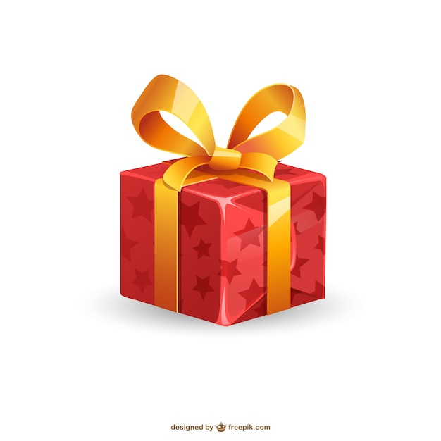 Christmas present illustration Free Vector
