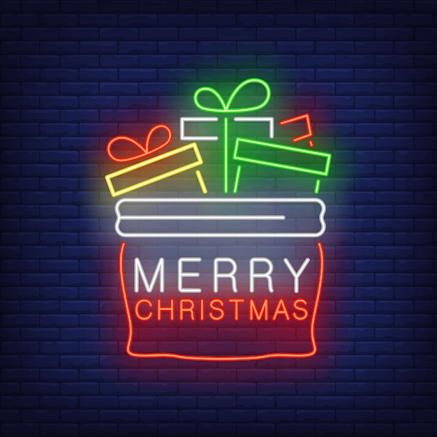 Christmas presents bag in neon style Free Vector