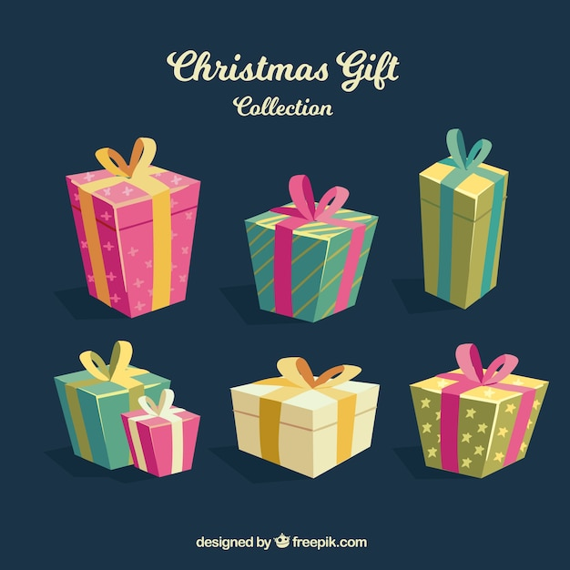 Christmas presents in flat design Free Vector