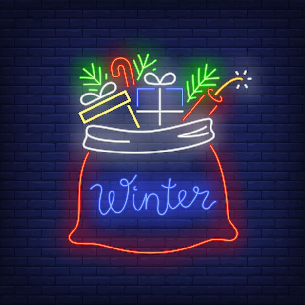 Christmas presents in sack in neon style Free Vector