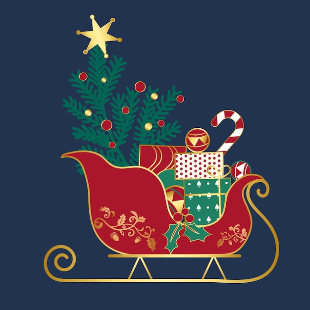 Christmas presents on a sledge vector Free Vector