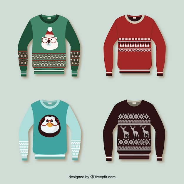 Christmas pullovers collection Free Vector