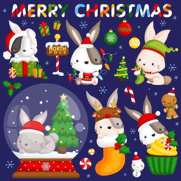 Рождественский кролик Premium векторы