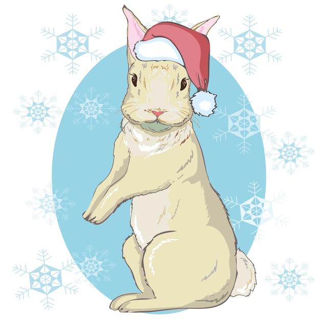 Christmas rabbit portrait in santa's hat. hand draw vector illustration. Premium Vector